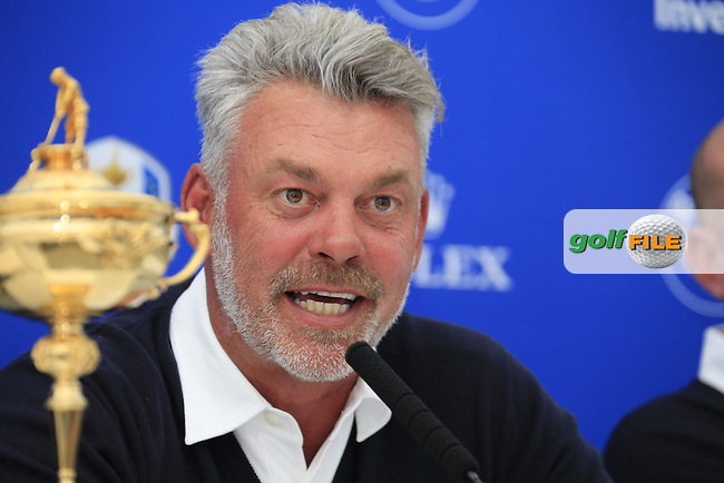 Darren Clarke Captain speaking at the announcement of the Ryder cup vice captains press conference during  round 2 of the 2016 BMW PGA Championship. Wentworth Golf Club, Virginia Water, Surrey, UK. 27/05/2016.<br /> Picture Fran Caffrey / Golffile.ie<br /> <br /> All photo usage must carry mandatory copyright credit (&copy; Golffile | Fran Caffrey)