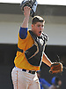 Rob Weissheir #12, Kellenberg catcher, reacts after throwing to first base to complete a double play and record the final out of Game 2 of the CHSAA varsity baseball finals against St. Anthony's at Hofstra University on Sunday, May 31, 2016. Kellenberg won 5-4 to sweep the best-of-three series and take the league championship.