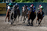 OCEANPORT, NJ - JULY 29: Berned, #8, ridden by Joe Bravo, wins the Molly Pitcher Stakes on Haskell Invitational Day at Monmouth Park Race Course on July 29, 2018 in Oceanport, New Jersey. (Photo by Dan Heary/Eclipse Sportswire/Getty Images)