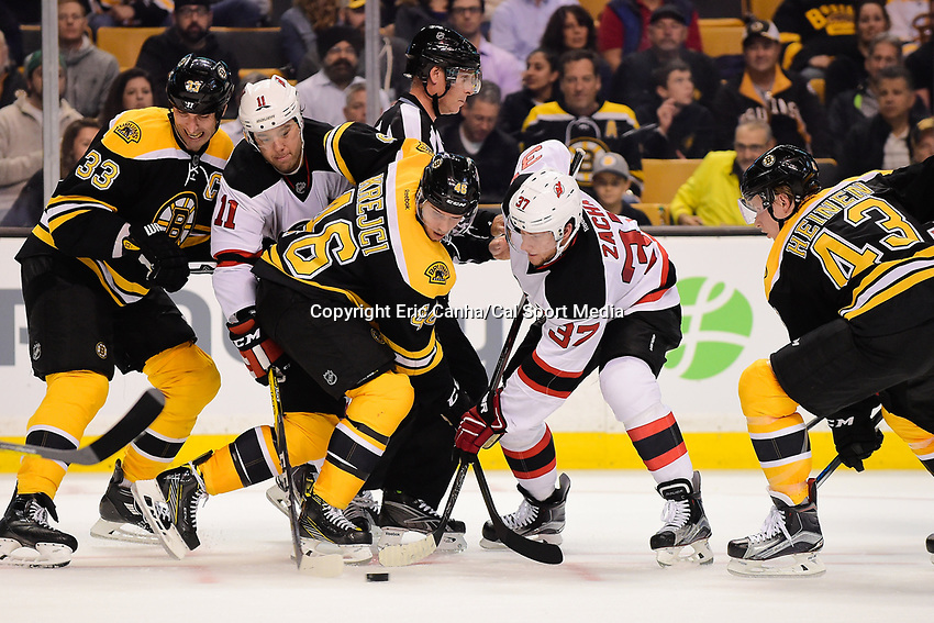 Thursday, October 20, 2016: Boston Bruins center David Krejci (46) and New Jersey Devils center Pavel Zacha (37) face off during the Boston Bruins home opener against the New Jersey Devils held at TD Garden, in Boston, Mass. The Bruins defeat the Devils 2-1 in regulation time. Eric Canha/CSM