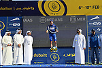 Race leader Elia Viviani (ITA) Quick-Step Floors wins overall at the end of Stage 5 The Meraas Stage final stage of the Dubai Tour 2018 the Dubai Tour&rsquo;s 5th edition, running 132km from Skydive Dubai to City Walk, Dubai, United Arab Emirates. 10th February 2018.<br /> Picture: LaPresse/Massimo Paolone | Cyclefile<br /> <br /> <br /> All photos usage must carry mandatory copyright credit (&copy; Cyclefile | LaPresse/Massimo Paolone)