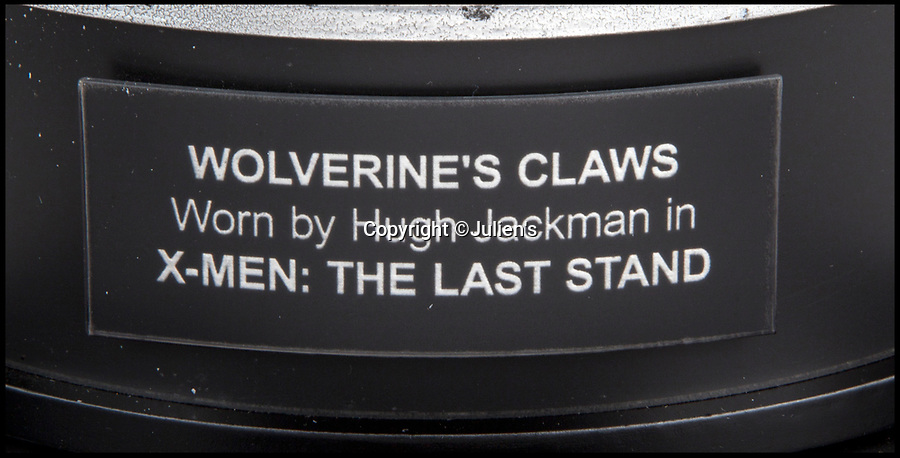 BNPS.co.uk (01202 558833)<br /> Pic:   Julien's/BNPS<br /> <br /> A pair of claws worn by actor Hugh Jackman as Wolverine have emerged for sale for £25,000.<br /> <br /> The Australian actor donned the plastic 10.5ins long claws in the 2006 film X-Men: The Last Stand.<br /> <br /> Each piece has three silver painted, pointed plastic claws attached to a metal frame.