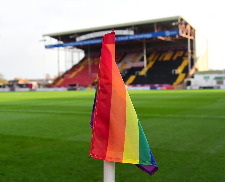 A general view of Sincil Bank, home of Lincoln City FC showing a Rainbow Flag<br /> <br /> Photographer Andrew Vaughan/CameraSport<br /> <br /> The EFL Sky Bet League Two - Lincoln City v Mansfield Town - Saturday 24th November 2018 - Sincil Bank - Lincoln<br /> <br /> World Copyright © 2018 CameraSport. All rights reserved. 43 Linden Ave. Countesthorpe. Leicester. England. LE8 5PG - Tel: +44 (0) 116 277 4147 - admin@camerasport.com - www.camerasport.com