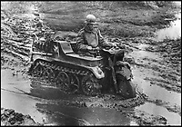 BNPS.co.uk (01202 558833)<br /> Pic: Bonhams/BNPS<br /> <br /> A bizarre-looking Nazi military vehicle resembling a motorbike crossed with a tank which gave Axis powers an upper-hand during the Second World War has emerged for sale.  <br /> <br /> It was a light, multi-terrain, general purpose vehicle designed for use as a an artillery tractor pulling heavy loads. <br /> <br /> This intelligent machine made the Allies' corresponding tractors, which were all jeep-like in their design, look entirely unsophisticated. <br /> <br /> The vehicle, valued at &pound;80,000, is being sold by Bonhams in Chichester, W. Susx, on March 19.
