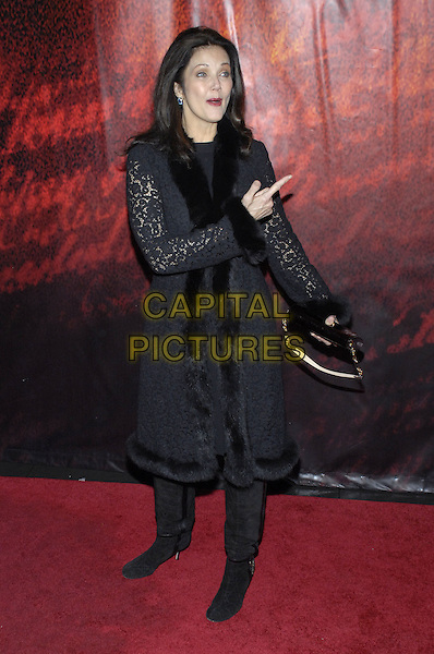 "LYNDA CARTER.World premiere of Walt Disney Pictures' and Jerry Bruckheimer Films "" National Treasure: Book of Secrets"" held at Ziegfeld Theater, New York, New York, USA..December 13th, 2007.full length linda black fur coat jacket lace bag purse boots hand pointing .CAP/ADM/BL.©Bill Lyons/AdMedia/Capital Pictures. *** Local Caption ***"