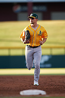 AZL Athletics left fielder Gold Shane Selman (13) jogs off the field between innings of an Arizona League game against the AZL Cubs 1 at Sloan Park on June 20, 2019 in Mesa, Arizona. AZL Athletics Gold defeated AZL Cubs 1 21-3. (Zachary Lucy/Four Seam Images)