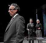 DRY POWDER by Burgess ; <br /> Aidan McArdle as Rick ; <br /> Tom Riley as Seth ; <br /> Hayley Attwell as Jenny ; <br /> Directed by Ledwich ; <br /> Designed by D Edwards ; <br /> Lighting by Elliot Griggs ; <br /> at Hampstead Theatre, London, UK ; <br /> 1 February 2018 ; <br /> Credit: Marilyn Kingwill / Performing Arts Images ; <br /> www.performingartsimages.com<br /> <br /> ***Educational Licence Use Only under Performing Arts Images Subscription Service.*** None of these images can be used commercially without prior written permission. ***Contact office@performingartsimages.com for details***