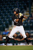 Bradenton Marauders right fielder Bligh Madris (17) at bat during a game against the Dunedin Blue Jays on May 2, 2018 at LECOM Park in Bradenton, Florida.  Bradenton defeated Dunedin 6-3.  (Mike Janes/Four Seam Images)