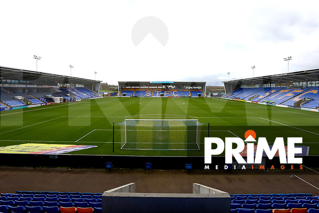 General View before the Sky Bet League 1 match between Shrewsbury Town and Wycombe Wanderers at Greenhous Meadow, Shrewsbury, England on 16 March 2019. Photo by Leila Coker / PRiME Media Images.