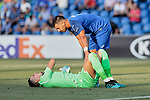 Angel Rodriguez of Getafe CF and Ugurcan Cakir of Trabzonspor during UEFA Europa League match between Getafe CF and Trabzonspor at Coliseum Alfonso Perez in Getafe, Spain. September 19, 2019. (ALTERPHOTOS/A. Perez Meca)
