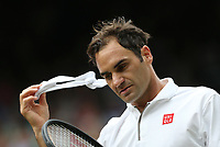 Roger Federer (SUI) during his match against Lucas Pouille (FRA) in their Gentleman's Singles Third Round match<br /> <br /> Photographer Rob Newell/CameraSport<br /> <br /> Wimbledon Lawn Tennis Championships - Day 6 - Saturday 6th July 2019 -  All England Lawn Tennis and Croquet Club - Wimbledon - London - England<br /> <br /> World Copyright © 2019 CameraSport. All rights reserved. 43 Linden Ave. Countesthorpe. Leicester. England. LE8 5PG - Tel: +44 (0) 116 277 4147 - admin@camerasport.com - www.camerasport.com