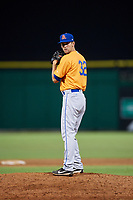 St. Lucie Mets relief pitcher Stephen Villines (32) gets ready to deliver a pitch during a game against the Clearwater Threshers on August 11, 2018 at Spectrum Field in Clearwater, Florida.  St. Lucie defeated Clearwater 11-0.  (Mike Janes/Four Seam Images)
