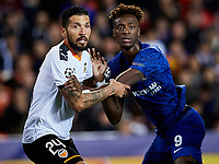 27th November 2019; Mestalla, Valencia, Spain; UEFA Champions League Footballl,Valencia versus Chelsea; Ezequiel Garay of Valencia CF tussles for a high ball with Tammy Abraham of Chelsea - Editorial Use