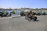 Team LottoNL-Jumbo riders recon the course before Stage 1 of the La Vuelta 2018, an individual time trial of 8km running around Malaga city centre, Spain. 25th August 2018.<br /> Picture: Eoin Clarke | Cyclefile<br /> <br /> <br /> All photos usage must carry mandatory copyright credit (© Cyclefile | Eoin Clarke)