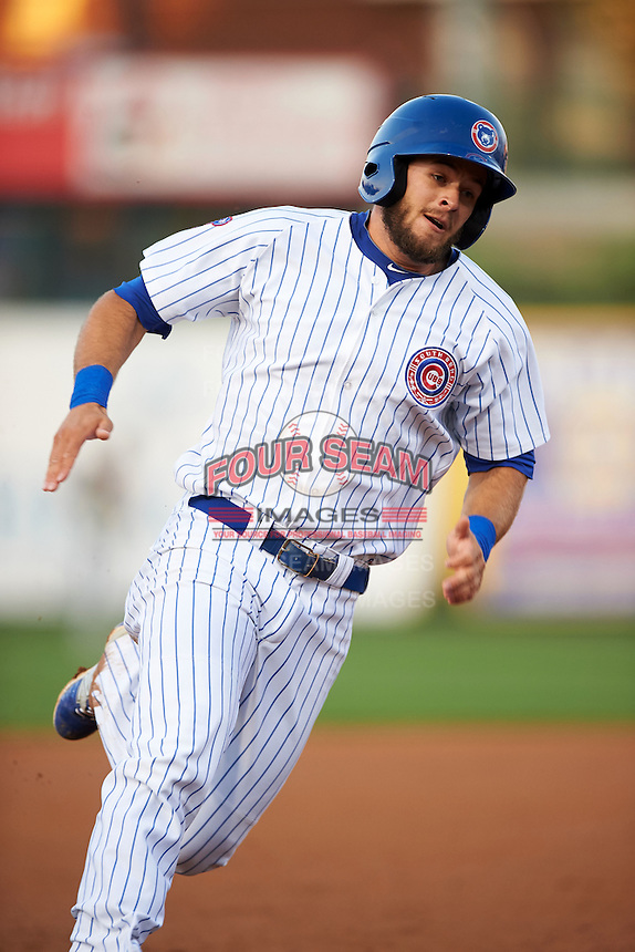 South Bend Cubs third baseman David Bote (5) running the bases during a game against the Cedar Rapids Kernels on June 5, 2015 at Four Winds Field in South Bend, Indiana.  South Bend defeated Cedar Rapids 9-4.  (Mike Janes/Four Seam Images)