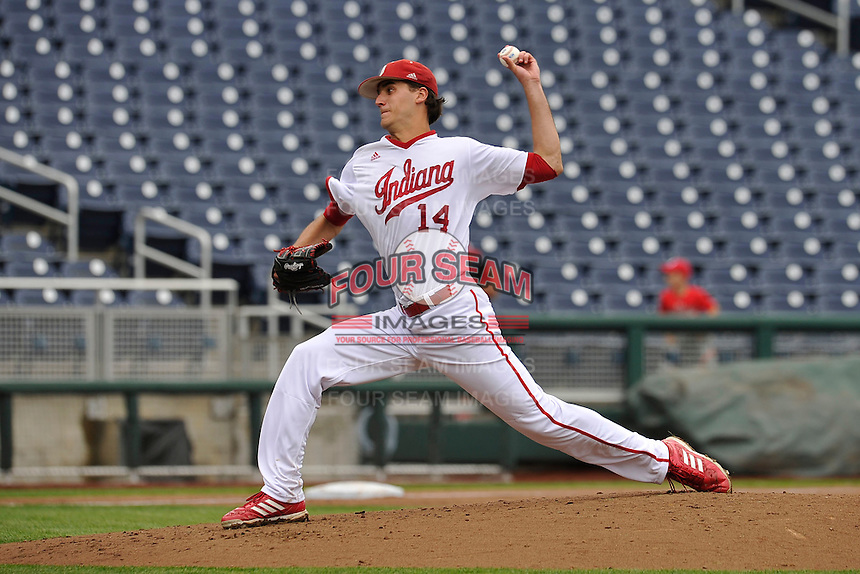 Indiana Hoosiers Kyle Hart (14) throws during the Big Ten Tournament game against the Maryland Terrapins at TD Ameritrade Park on May 25, 2016 in Omaha, Nebraska.  Maryland  won 5-3.  (Dennis Hubbard/Four Seam Images)