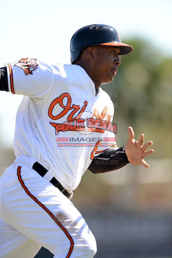 Baltimore Orioles second baseman Jonathan Schoop (6) during a spring training game against the Boston Red Sox on March 8, 2014 at Ed Smith Stadium in Sarasota, Florida.  Baltimore defeated Boston 7-3.  (Mike Janes/Four Seam Images)