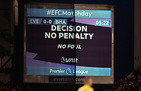 11th January 2020; Goodison Park, Liverpool, Merseyside, England; English Premier League Football, Everton versus Brighton and Hove Albion; Everton are denied a penalty after a VAR decision on an incident when Theo Walcott of Everton was brought down - Strictly Editorial Use Only. No use with unauthorized audio, video, data, fixture lists, club/league logos or 'live' services. Online in-match use limited to 120 images, no video emulation. No use in betting, games or single club/league/player publications