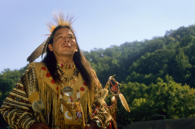 Cherokee man dressed in traditional pow wow regalia during a fall festival in Cherokee NC on the Qualla Indian Reservation.