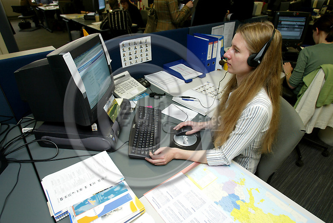 BRUSSELS - BELGIUM - 11 APRIL 2005 --The Lithuanian Rasa RAUDAITE at the phone in EUROPE DIRECT which is the EU citizens direct line to the European Union operated from this call center in Brussels by the private company TechTeam.  Here the citizen can ask all questions related to EU via phone or e-mail.-- PHOTO: ERIK LUNTANG / EUP-IMAGES