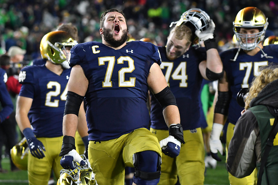 October 12, 2019; Offensive lineman Robert Hainsey (72) celebrates after Notre Dame defeated the USC Trojans at Notre Dame Stadium. (Photo by Matt Cashore)