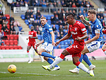 22.09.2019 St Johnstone v Rangers: Alfredo Morelos has his effort saved