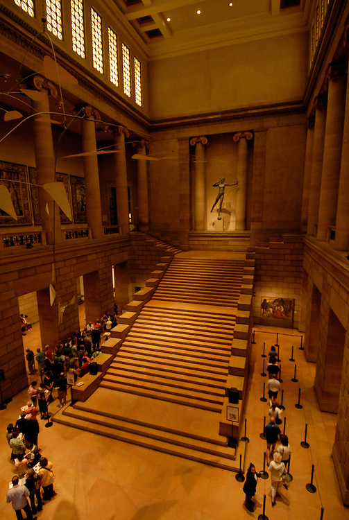 Philadelphia Museum of Art, interior stairs..Philadelphia, Pennsylvania, PA USA.  Photo copyright Lee Foster, 510-549-2202, lee@fostertravel.com, www.fostertravel.com. Photo 214-30599.