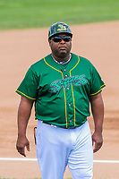 Beloit Snappers manager Webster Garrison (41) during a Midwest League game against the Quad Cities River Bandits on June 18, 2017 at Pohlman Field in Beloit, Wisconsin.  Quad Cities defeated Beloit 5-3. (Brad Krause/Krause Sports Photography)