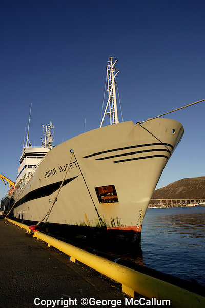 Norwegian Fisheries research ship Johan Hjort at dock in Tromso Harbour, Norway