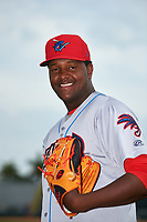 Clearwater Threshers pitcher Jose Taveras (45) poses for a photo before a game against the Bradenton Marauders on April 18, 2017 at LECOM Park in Bradenton, Florida.  Clearwater defeated Bradenton 4-2.  (Mike Janes/Four Seam Images)