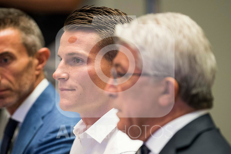 French football player Kevin Gameiro and president of Atletico de Madrid, Enrique Cerezo during the presentation of the new Atletico de Madrid's football player for the next season 2016-2017 at Vicente Calderon Stadium in Madrid. July 31, Spain. 2016. (ALTERPHOTOS/BorjaB.Hojas)