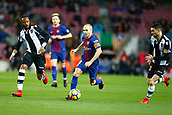 7th January 2018, Camp Nou, Barcelona, Spain; La Liga football, Barcelona versus Levante; Iniesta passes Levante player Jason