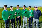 Tralee golf club boys team pictured last Friday at the club ahead of their National final in Sligo on Sept 29th next, L-R Darragh O'Sullivan, Mark Stephanson, Richard O'Gara, Danial O'Loughlin, Mark Gazi with PGA Pro, John Casey.
