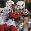 Michael Scibelli #68 of Oceanside, right, and Ikce Quiles #55 of Freeport battle at the line of scrimmage during the the Nassau County Conference I varsity football final at Hofstra University on Saturday, Nov. 18, 2017. Scibelli recorded two sacks and made seven tackles in Oceanside's 17-0 win.