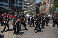 NEW YORK JUNE 10: Police presence during an anti-sharia law rally organized by ACT for America on June 10, 2017 at Foley square in New York. Photo by VIEWpress/Maite H. Mateo.