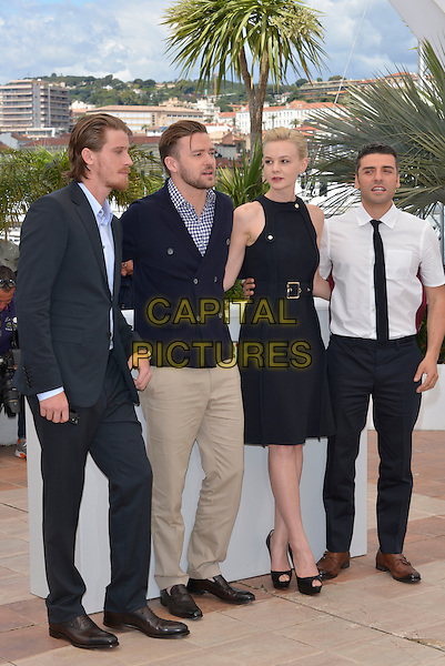 Garrett Hedlund, Justin Timberlake, Carey Mulligan, Oscar Isaac.'Inside Llewyn Davis' film photocall at the 66th  Cannes Film Festival, Cannes, France, 19th May 2013..full length  beige trousers blue and white gingham shirt checked jacket navy hand in pocket waving double breasted cardigan cast black dress belt buckle suit tie shirt  .CAP/PL.©Phil Loftus/Capital Pictures.