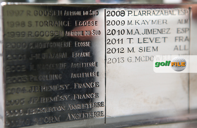 Close up of the past winners on the base of the Trophy for  the Alstom Open de France from Le Golf National, Guyancourt, Versailles, France. Picture:  David Lloyd / www.golffile.ie