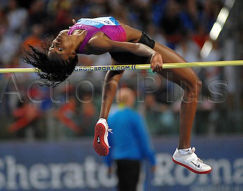 10 06 2010  Chaunte Howard Lowe USA Somersault in Alto High Jump Roma 10 6 2010 Olympic Stadium Rome, Italy. Diamond League Athletics.