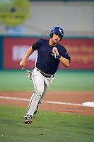 Charlotte Stone Crabs first baseman Nathaniel Lowe (7) runs home during a game against the Palm Beach Cardinals on July 22, 2017 at Roger Dean Stadium in Palm Beach, Florida.  Charlotte defeated Palm Beach 5-2.  (Mike Janes/Four Seam Images)