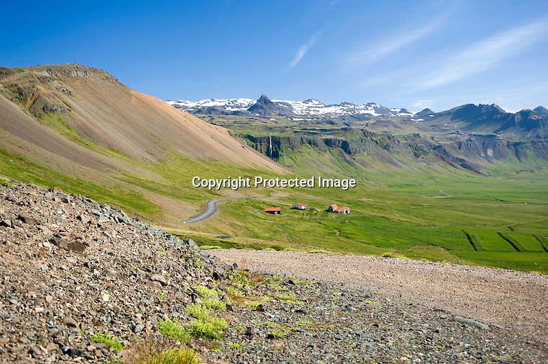 Hilltop View of Helgrindur Mountains and Budir Valley in West Iceland