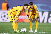 FC Barcelona's Leo Messi (l) and Neymar Santos Jr during Champions League 2015/2016 Quarter-Finals 2nd leg match. April 13,2016. (ALTERPHOTOS/Acero) <br /> Madrid 13/4/2016 Vicente Calderon <br /> Football Calcio 2015/2016<br /> Champions League Quarti di finale <br /> Atletico Madrid - Barcellona <br /> Foto Alterphotos / Insidefoto <br /> ITALY ONLY