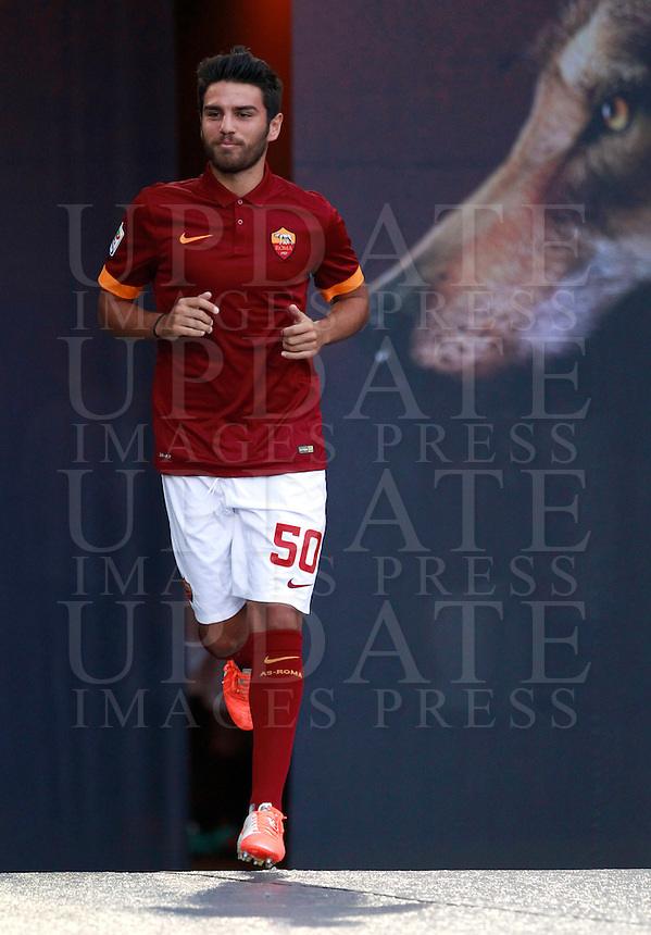 Calcio, amichevole Roma vs Fenerbahce. Roma, stadio Olimpico, 19 agosto 2014.<br /> Roma defender Michele Somma arrives for the team's presentation, prior to the friendly match between AS Roma and Fenerbahce at Rome's Olympic stadium, 19 August 2014.<br /> UPDATE IMAGES PRESS/Isabella Bonotto