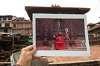 Nepal, Kathmandu, earthquake damage at Kathmandu Durbar Square. My photos of how the temples looked previously.