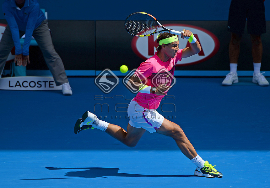 Rafael Nadal (ESP) round 1 action<br /> 2015 Australian Open Tennis <br /> Grand Slam of Asia Pacific<br /> Melbourne Park, Vic Australia<br /> Monday 19 January 2015<br /> &copy; Sport the library / Jeff Crow
