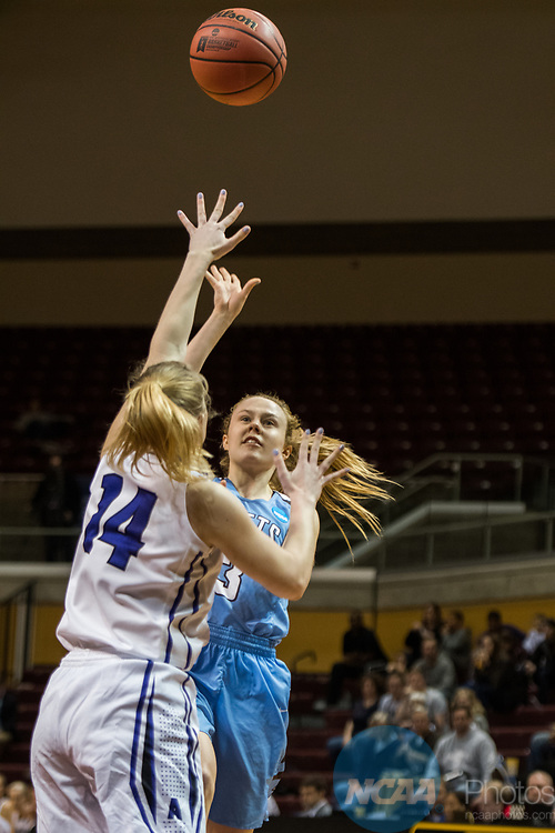 GRAND RAPIDS, MI - MARCH 18: Jac Knapp (3) of Tufts University shoots over Emma McCarthy (14) of Amherst College for the basket during the Division III Women's Basketball Championship held at Van Noord Arena on March 18, 2017 in Grand Rapids, Michigan. Amherst College defeated Tufts University 52-29 for the national title. (Photo by Brady Kenniston/NCAA Photos via Getty Images)