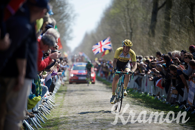 Rick Flens (NLD/LottoNL-Jumbo) in sector 18: Trouée d'Arenberg - Wallers Forest (2.4km) <br /> <br /> 113th Paris-Roubaix 2015