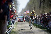Rick Flens (NLD/LottoNL-Jumbo) in sector 18: Trou&eacute;e d'Arenberg - Wallers Forest (2.4km) <br /> <br /> 113th Paris-Roubaix 2015