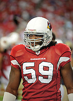 Sept. 27, 2009; Glendale, AZ, USA; Arizona Cardinals linebacker Will Davis against the Indianapolis Colts at University of Phoenix Stadium. Indianapolis defeated Arizona 31-10. Mandatory Credit: Mark J. Rebilas-