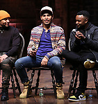 "Terrance Spencer, Anthony Lee Medina and Jimmie ""JJ"" Jeter during the eduHAM Q & A before The Rockefeller Foundation and The Gilder Lehrman Institute of American History sponsored High School student #EduHam matinee performance of ""Hamilton"" at the Richard Rodgers Theatre on November 13, 2019 in New York City."