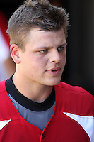 Devin Mesoraco #36 of the Carolina Mudcats in the dugout during a game against the West Tenn Diamond Jaxx on May 30, 2010 in Zebulon, NC.